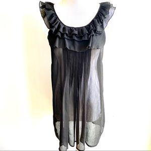 {preloved} Long Sheer Black Exposed Zipper Blouse